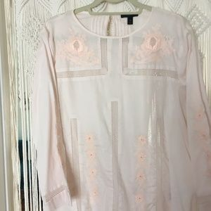 Blush pink cotton embroidered blouse ~J.Crew sz 10